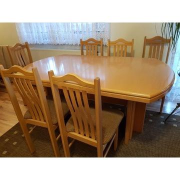 Stół drewniany, rozkładany i 12 krzeseł