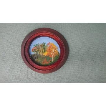 Obrazek na drewnie PRL cztery pory roku - jesień