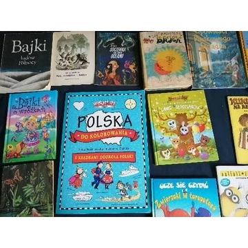 Duży zestaw różnych podręczników książek, bajek.