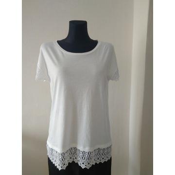 biała bluzka koszulka T-shirt rękawy koronka M 42