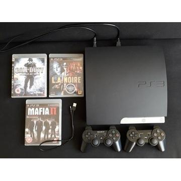 PS3 Slim + 2 Pady + 3 Gry, konsola PlayStation 3