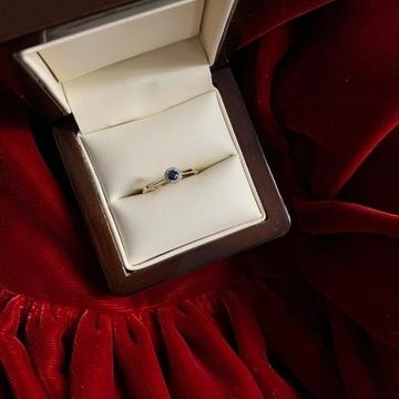 ZŁOTY PIERŚCIONEK SZAFIR BRYLANTY zaręczynowy