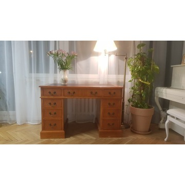 Piękne stylowe biurko drewno ze skórzanym blatem