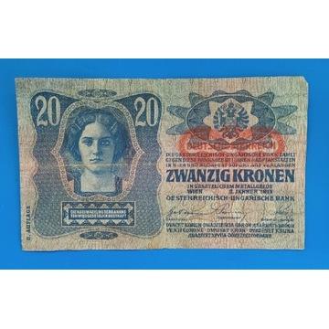 Banknot Austro-Węgry  , 20 Koron 1913 Z NADRUKIEM