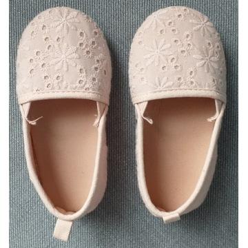 Buty buciki materiał jasny róż haft kwiatki 23