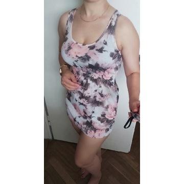 Tunika mini sukienka w kwiaty kwiecista bluzka
