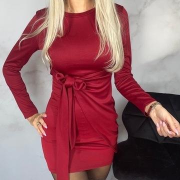 Sukienka bordo przekładana z wiązaniem S/M
