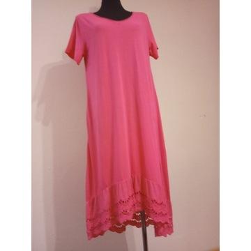 Sukienka bawełniana z ażurem fuksja, biała, róż pu