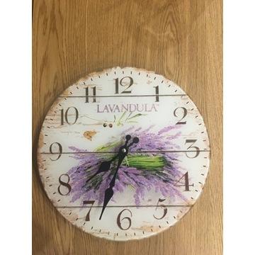 Zegar wiszący, ścienny do kuchni z lawendą