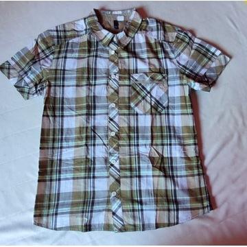 H&M koszula zielona oliwkowa krata khaki 38/M