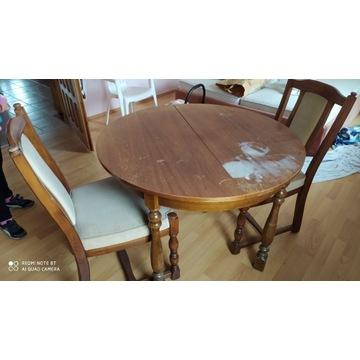 Stól antyk z 2 krzesłami