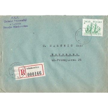 Minkowice - Koperty listów poleconych 1960-80