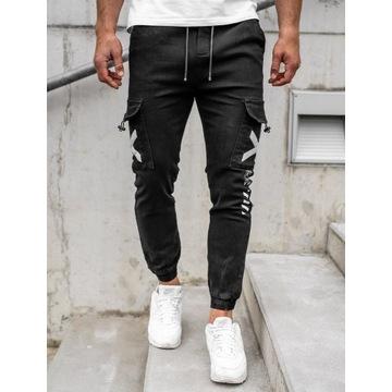 Czarne spodnie joggery bojówki męskie