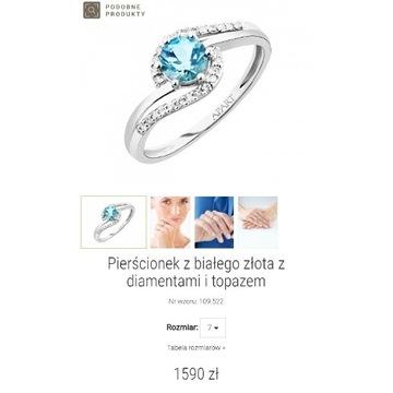 Pierścionek zaręczynowy APART diamenty i topaz