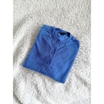 Wełna merino sweter guziki błękitny niebieski s