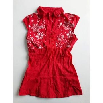 Bluzka ciążowa koszulowa czerwona w kwiaty S 36