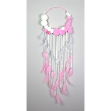 ŁAPACZ SNÓW dla dziewczynki różowy-biały 90cm