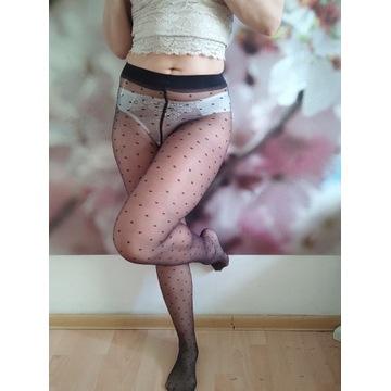 Rajstopy lycra czarne w groszki noszone fetysz