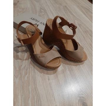 Beżowe sandały koturny/platforma Jenny Fairy r.35