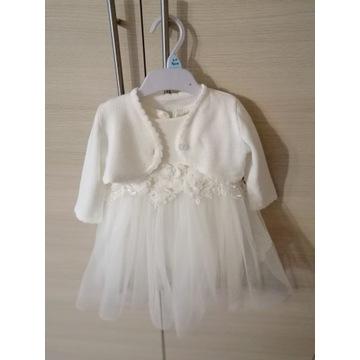 Sukienka do chrztu+bolerko+czapeczka+buciki