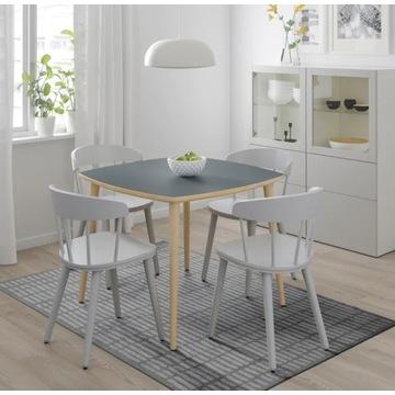Stół IKEA OMTÄNKSAM - antracyt, brzoza, 95x95 cm