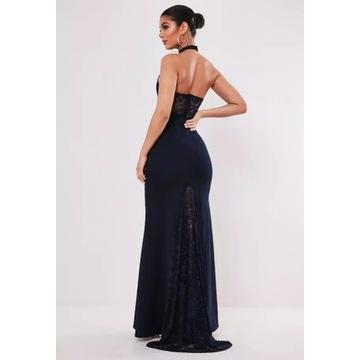Missguided sukienka długa koronka XS 34