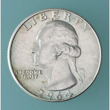 25 centów 1964 D (QUARTER); bardzo ładne