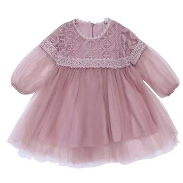 Sukienka dla dziewczynki 80 cm pudrowy róż roczek