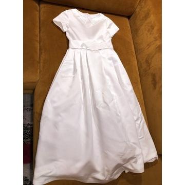 Sukienka komunijna rękawiczki pelerynka wianek