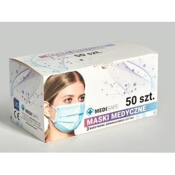 Maska medyczna 3 - warstwowa, jednorazowa, CE - PL