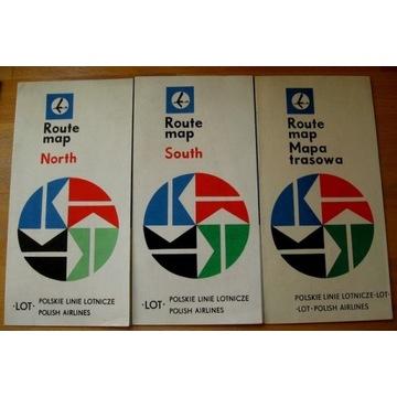 1969=LOT-POLSKA=MAPY TRASOWE - 3 SZTUKI