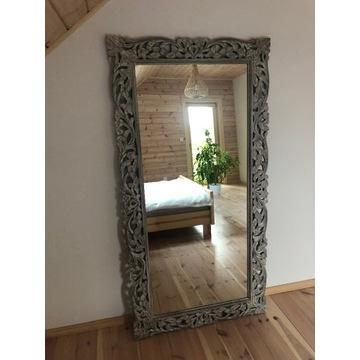 Piękne rzeźbione lustro z litego drewna 175x90