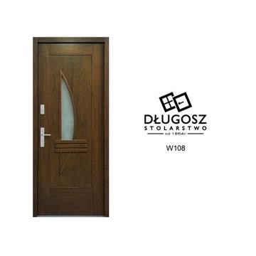 Wejściowe Drzwi Zewnętrzne Drewniane Wysokie W108
