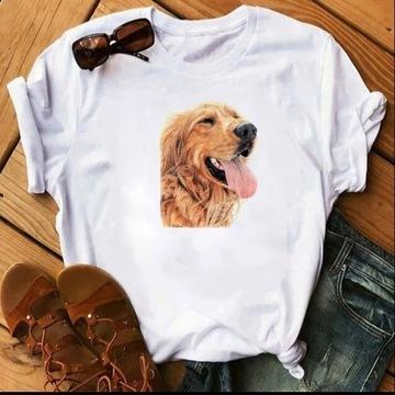 Koszulka t-shirt bił czarna pies Golden retriever