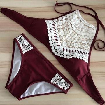 Dwuczęściowy strój kąpielowy bikini boho bordowy S