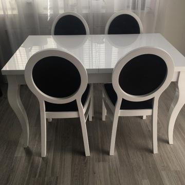 Stół Biały Rozkładany Glamour Krzesła Pikowane 4