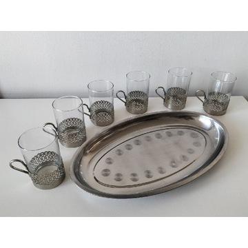 Koszyczki uchwyty na szklanki z tacą (8)