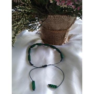 Bransoletka z naturalnego malachitu,makrama