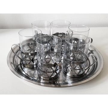 Koszyczki uchwyty na szklanki z tacą (10)
