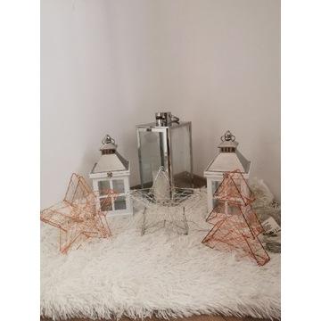 Metalowa dekoracja Gwiazda srebrna różowa zew led