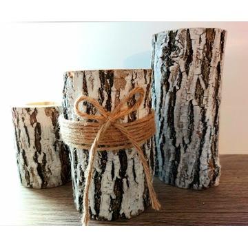 Świecznik biały drewniany akacja hand made