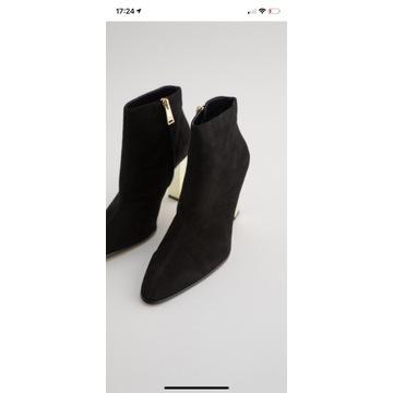 Skórzane botki na metalizowanym obcasie  Zara nowe