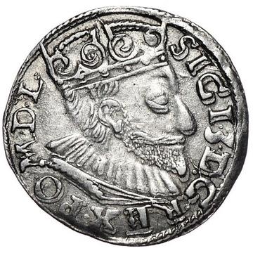 trojak 1594, Poznań, szeroka twarz króla -ładny-