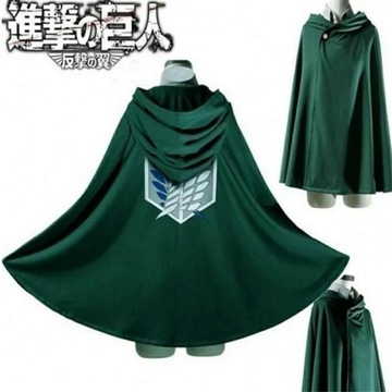 Attack on titan płaszcz coslay czarny/zielony