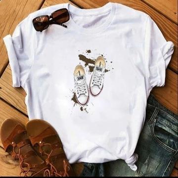 Koszulka t-shirt bluzka biała converse trampki hip