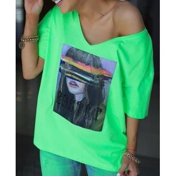 T-shirt damski neon zielony Bastet rozmiar S