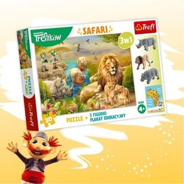Puzzle Safari Rodzina Treflików + 3 figurki + plak