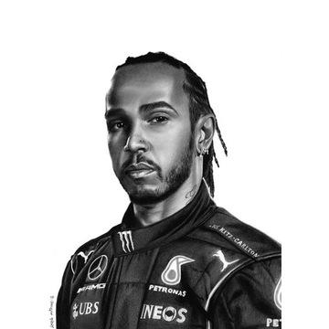 Lewis Hamilton Rysunek portret na zamówienie A4 A3