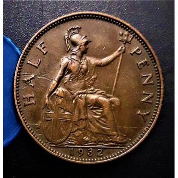 Half Penny  1932  Anglia. STAN. MS-63!!
