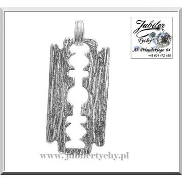 Duży srebrny wisiorek żyletka żyleta ze srebra 925